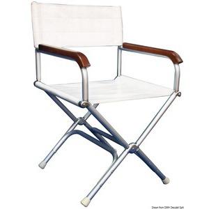 Director folding chair high-resistance white vinyl