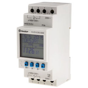 2 Channel Digital DIN Rail Time Switch Measures Minutes, 230 V ac