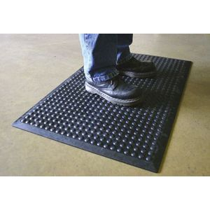 Black Rubber Bubble Anti-Fatigue Mat, 0.9m x 0.6m x 18mm