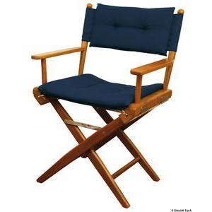 Teak chair blue padded fabric
